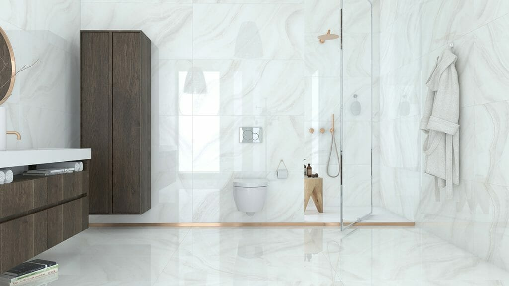 The picture above is Onyx Effect Tile White Jade. This is a polished porcelain floor and wall tile that comes with creamy white background color and grey swirls.