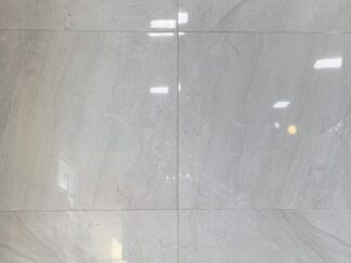 30x30 Large format polished porcelain tile Lithium Pearl in light grey color with limestone effect