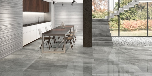 Large Format tile in silver color Lithium