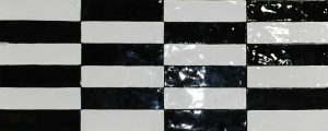 Black And White Subway Tile in Maiolica style