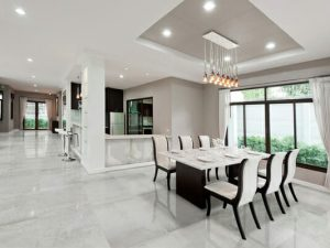 24x48 Polished porcelain floor tile with concrete effect; Sassari Pearl in light grey color
