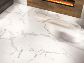 48x48 porcelain tile with the look of a white marble that has grey veins
