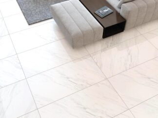 porcelain floor tile with white background and soft grey veining that looks like dolomite