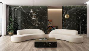 black porcelain tile as an accent wall
