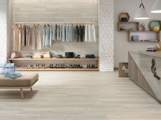 image of Wood effect floors tile is porcelain tile from Spain in maple wood style with grey color grains.