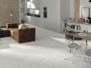 24x48 porcelain tile in light beige color with the look of limestone