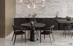 white tile with beige veining on the walls and floors in a dining room White and Beige Tile