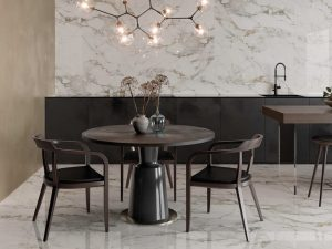 white tile with beige veining on the walls and floors in a dining room