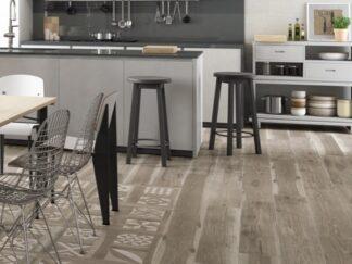 Rectified porcelain floor tile in barnwood style.