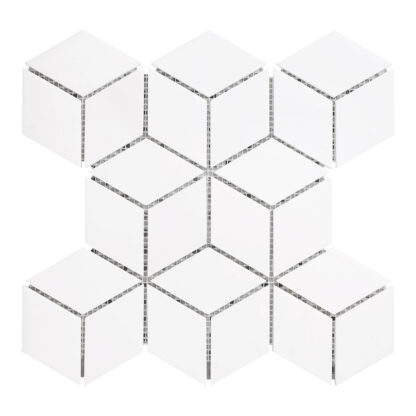 3D Mosaic Rhombus White is decorative white dolomite tile for kitchen backsplash, bathroom and shower walls or floors. Available on the mesh.
