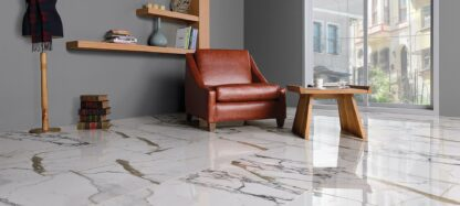 a white porcelain tile with a true marble character.