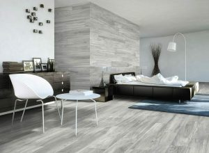 Bellver grey is a ceramic tile that looks like wood in light grey color
