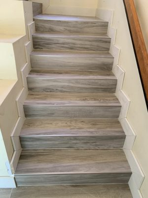 stair way with wood look tiles