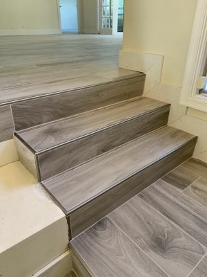 steps with wood look tile