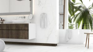 Royal Marble is porcelain tile with white marble look that comes with soft grey veining.