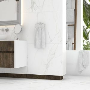 This is a polished, 24x48 porcelain tile made to reduce the seam and grout on the floors.
