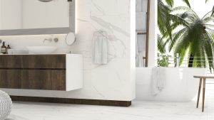 24x48 White Porcelain royal marble is floor and wall tile that comes with the satin finish. this tile is considered safe for wet areas