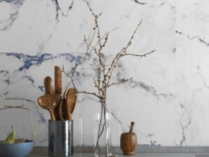 White blue tile backsplash tile