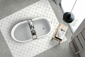 white color decorative tile from Spain with Mediterranean pattern