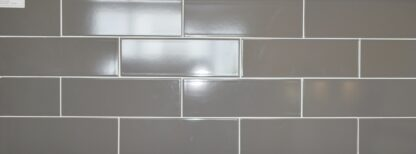 Grey subway tile comes in the 4×12 size to eliminateseam and grout issues. Our subway tiles comein bigger sizes to create a clean look also on the walls.