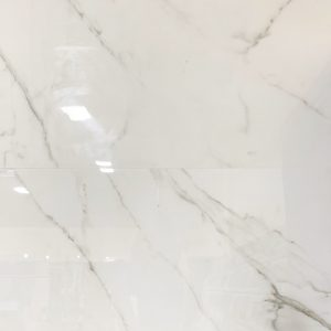 large size porcelain tile with the look of white marble