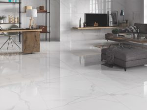white porcelain tile with the look of Carrara Marble