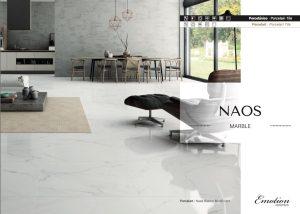 white porcelain tile that looks like Carrara marble in matte finish