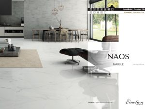 white porcelain tile that looks like Carrara marble in matte finish