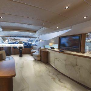 Yacht with high-end porcelain tile floor