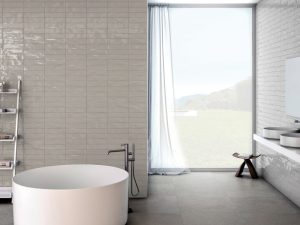 silver color subway tile with extra glossy finish