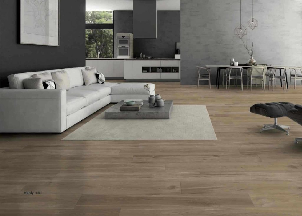 Hardy Miel is a porcelain tile that looks like wood from Spain in light earth tones