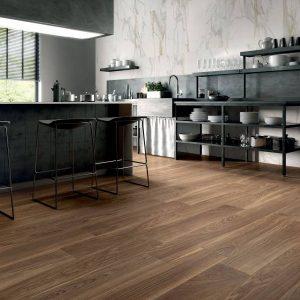 Logic coffee is porcelain wood tile from Spain in dark brown color