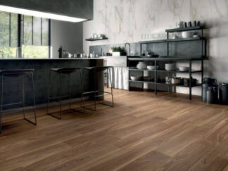 Logic coffee is porcelain wood tile from Spain in dark brown color