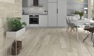 Porcelain Tile Plank Palio Beige blends concrete elements with the wood look in a quite modern design