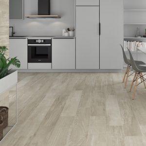 porcelain wood plank tile in a modern style bringing concrete elements to hardwood floors