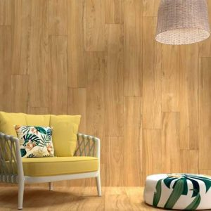 Loire Camel is a wood looking porcelain tile resembling maple hardwood floors with a rustic look in warm colors.