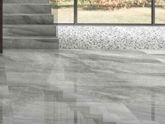 Lithium Silver is a grey porcelain tile with the look of limestone. It comes with distinctive natural stone movements.