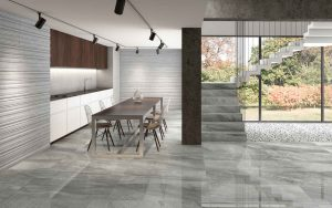silver color porcelain tile mimicking a limestone with the polished finish