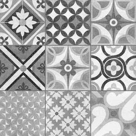 black and white decorative floor tile heritage mono full size picture