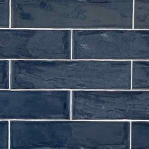 Blue color , large subway tile in maiolica style from Spain