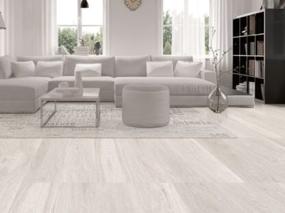 Light Wood Look Tile Kenia White. Rectified porcelain, floor and wall tile. Made in Spain.