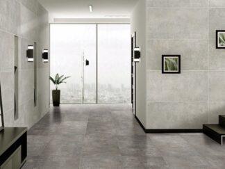 product image studio Graphite porcelain tile that looks like industrial concrete floors in dark grey grey color