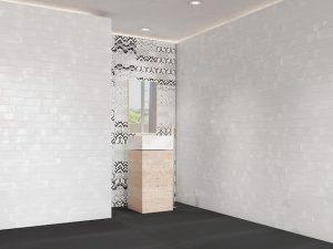 White Subway Tile With Random Prints