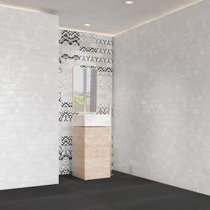 White Subway Tile With Random Prints