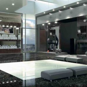 Mega White Porcelain Tile is a technical porcelain tile with its color consistent throughout its mass.