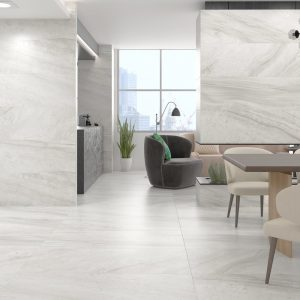 light grey porcelain tile that looks like marble in the matte finish
