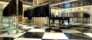 High End clothing store with technical porcelain tile floor