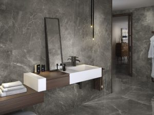 24x48 porcelain tile in dark grey color with the look of limestone