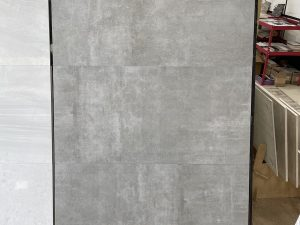 24x48 gray porcelain tile with the look of industrial floors
