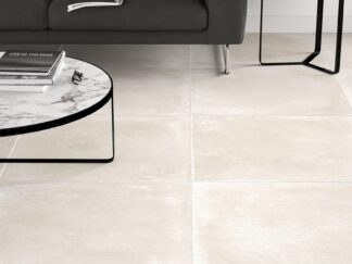 30x30 porcelain tile that looks like concrete floors in light beige color.